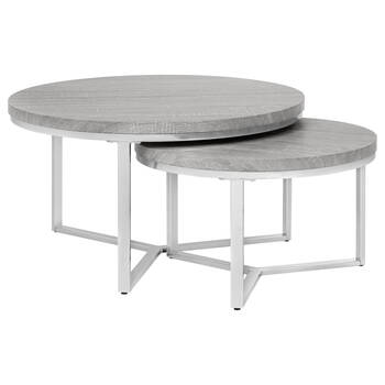 Set of 2 Veneer Coffee Tables with Chrome Legs