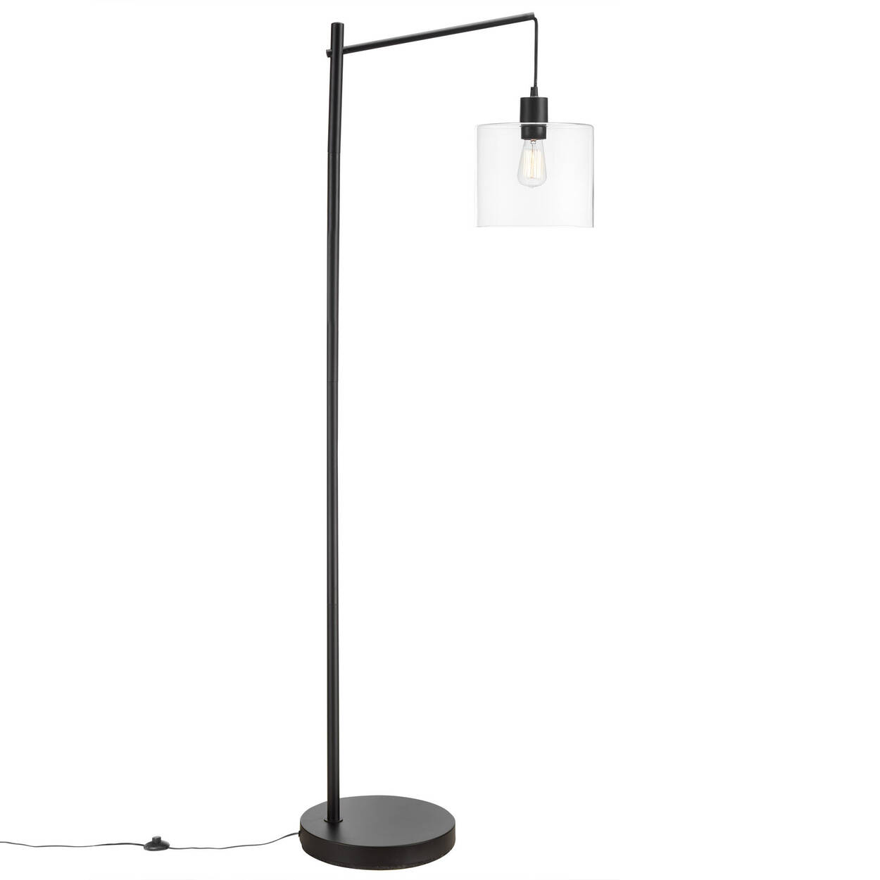 Industrial Metal and Glass Floor Lamp