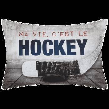 """Coussin décoratif Ma vie, c'est le hockey 13"""" x 20"""""""