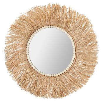 Miroir rond raphia avec perles en bois