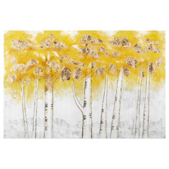Oil Painted Yellow Birches Canvas