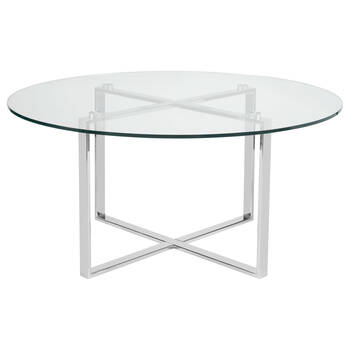 Round Glass and Metal Coffee Table