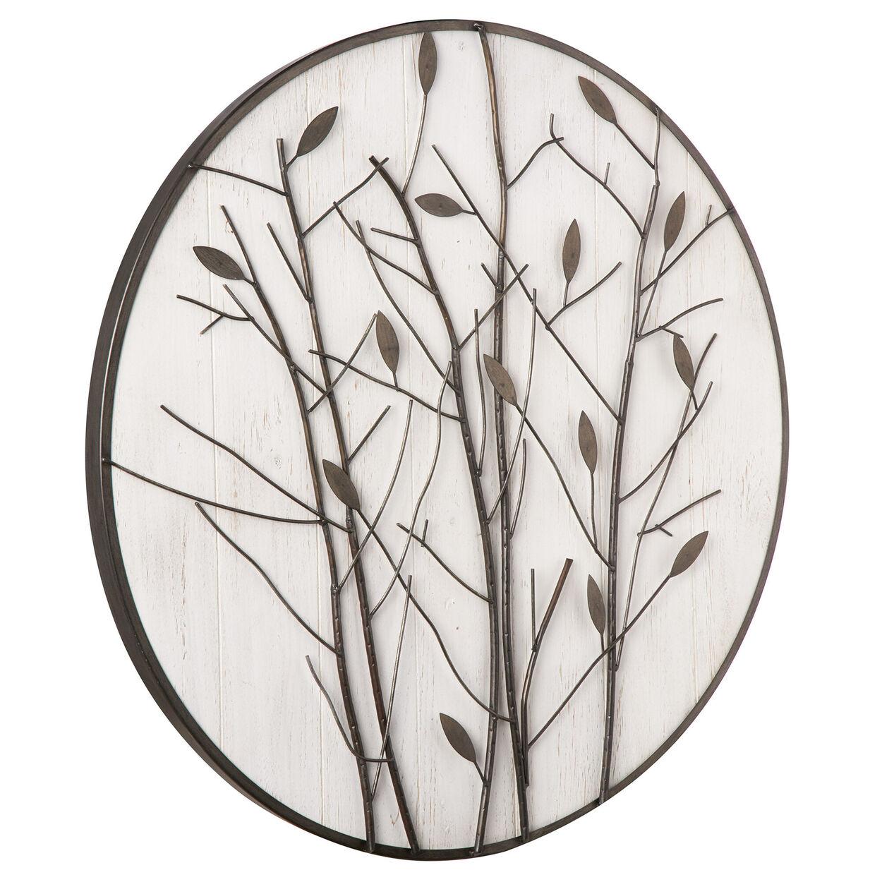 Round Metal Leaves Wall Art