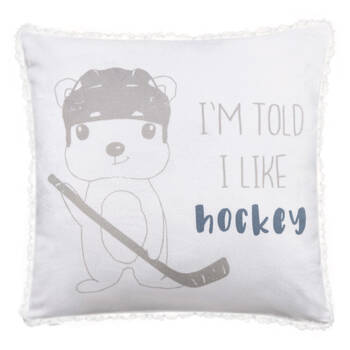 "I Like Hockey Sherpa-Lined Decorative Pillow 15"" X 15"""