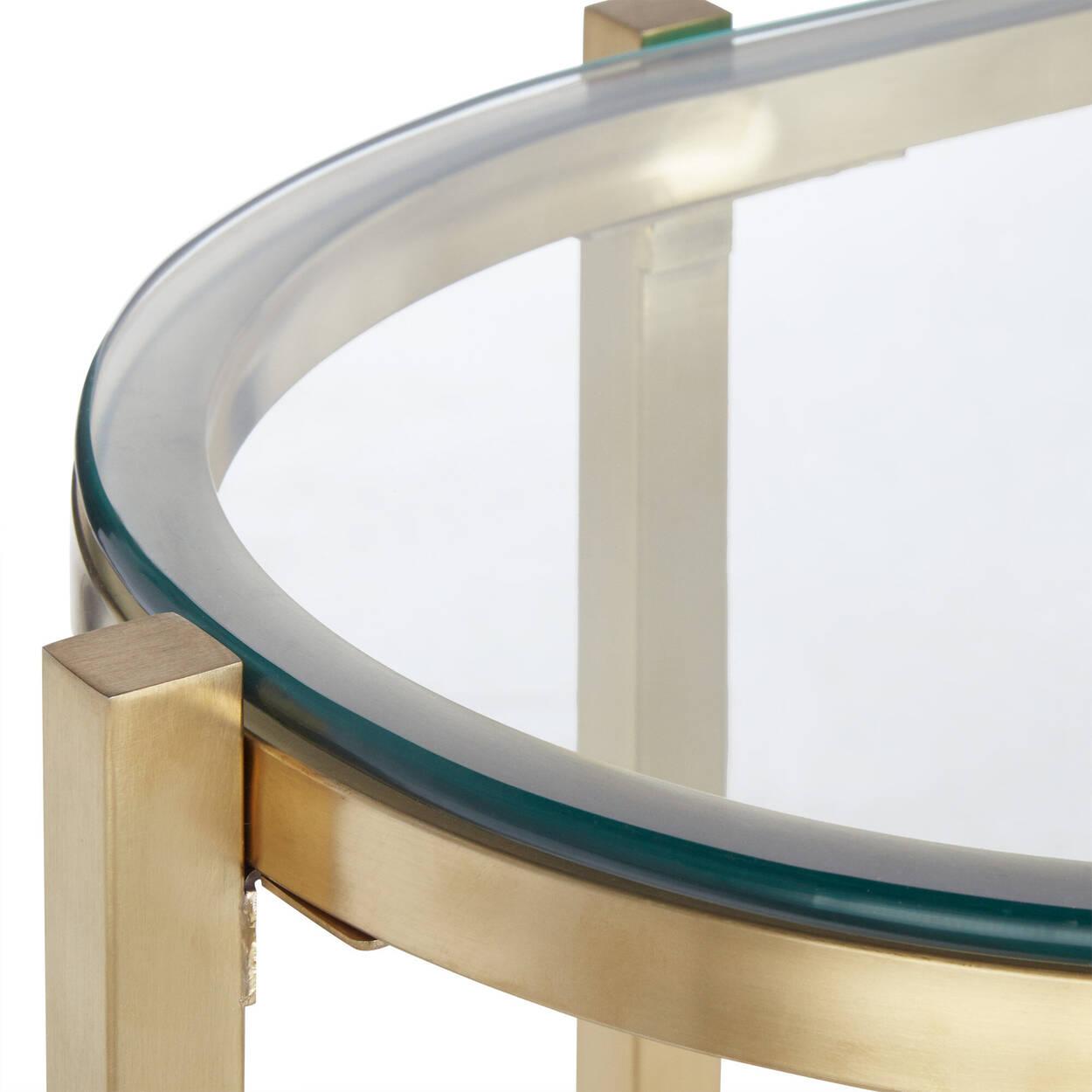 Console en verre avec détails dorés