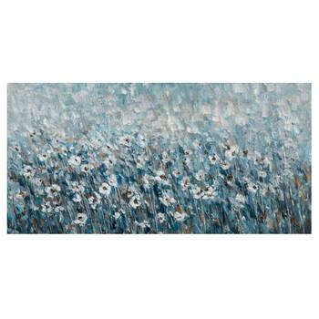 Tableau champ de fleurs peint à l'huile