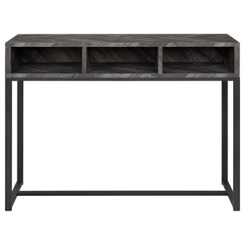 Wood Veneer and Iron Console Table with Three Cubbies