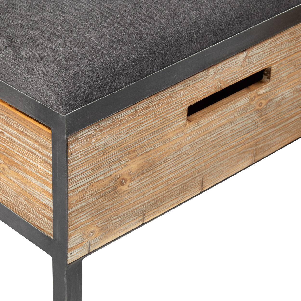Industrial Wood and Fabric Storage Bench