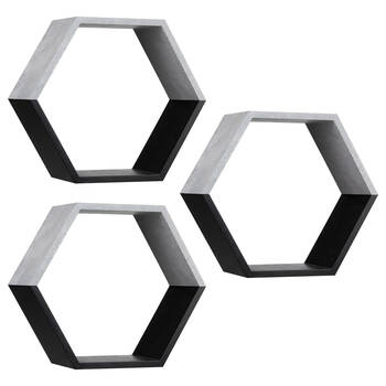 Set of 3 Hexagonal Wall Shelf