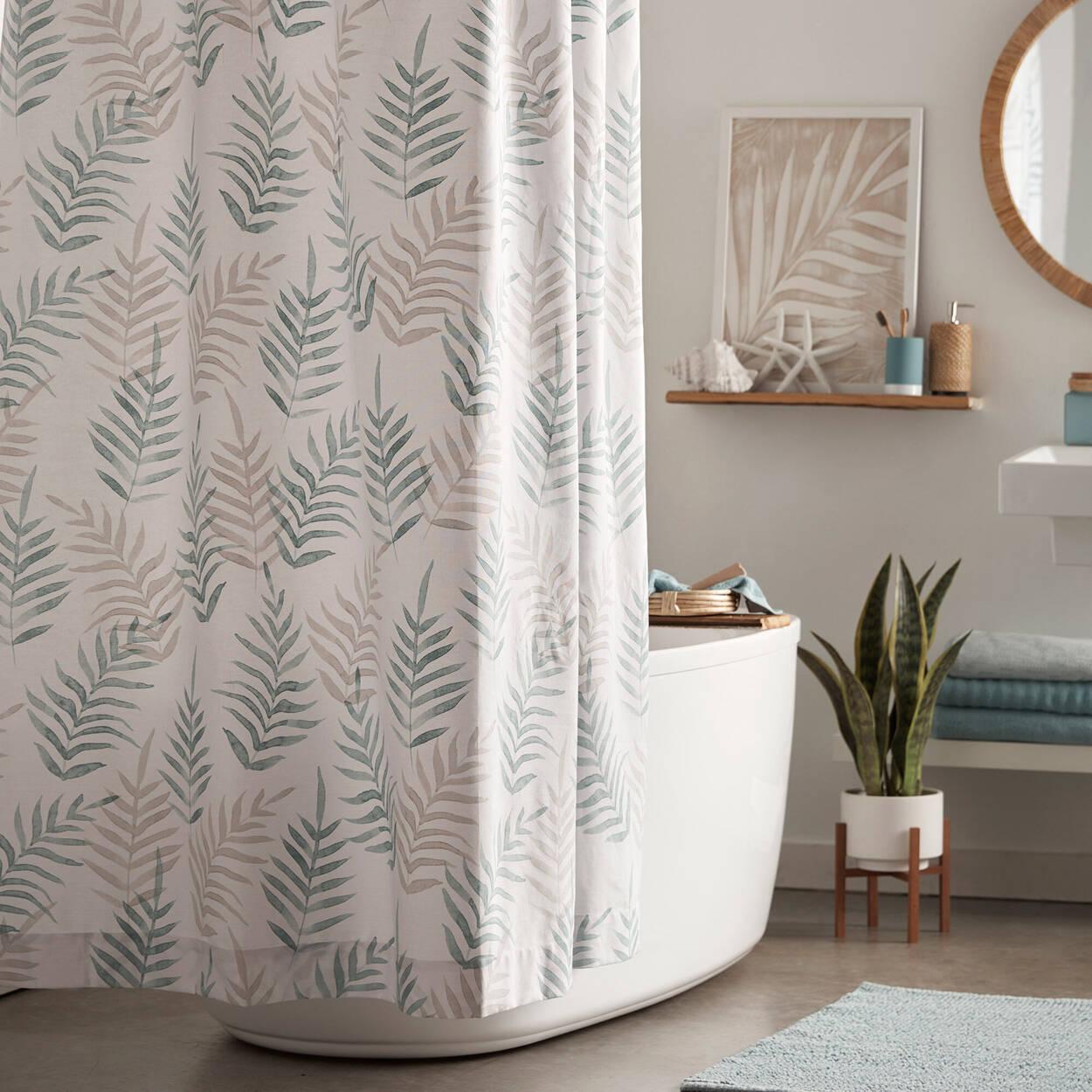 Rideau de douche avec motif de feuilles