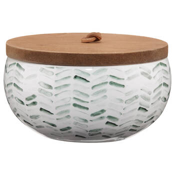 Green Chevron Patterned Candle