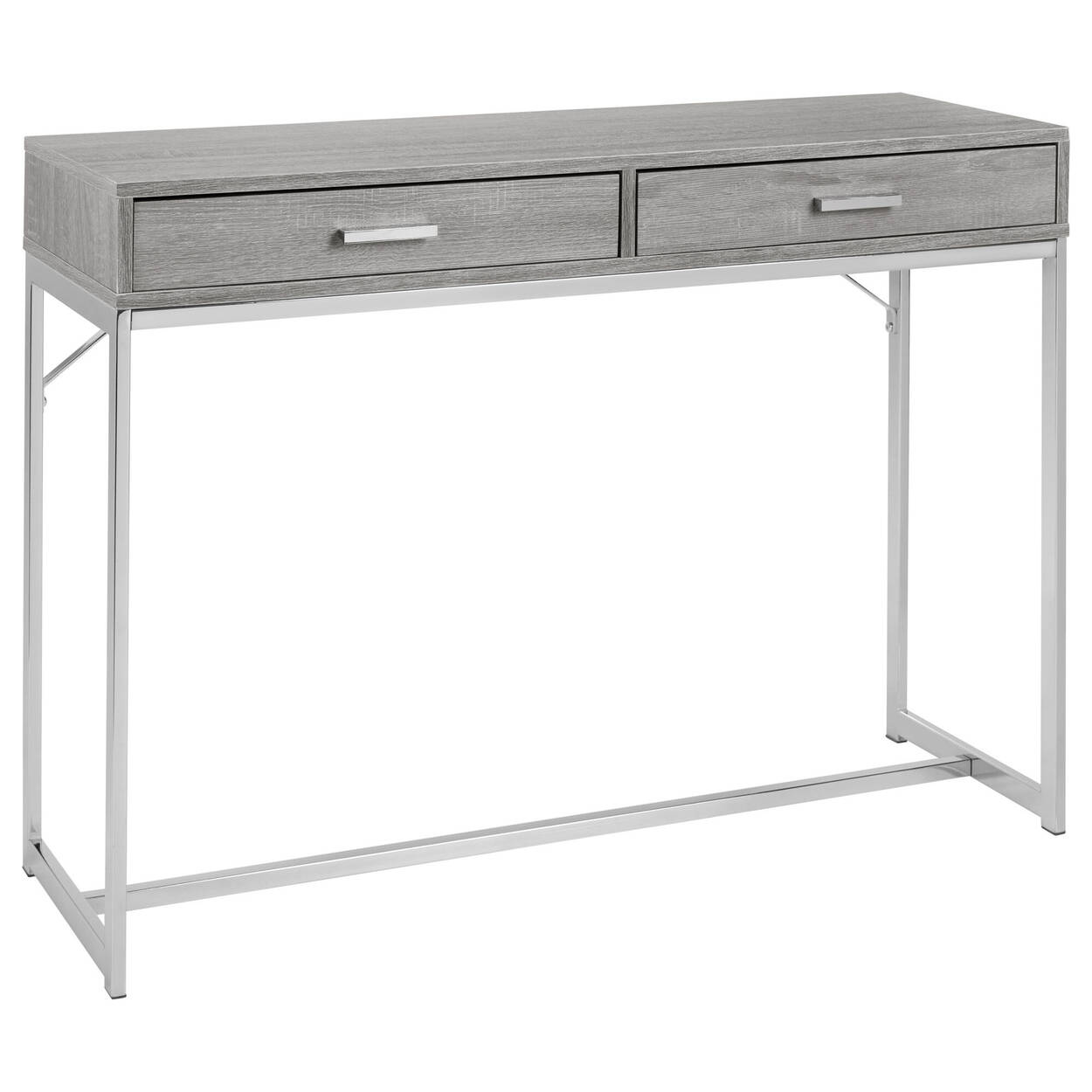 2-Drawer Veneer and Chrome Console Table