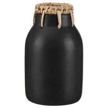 Black Dolomite Vase with Rattan Trim