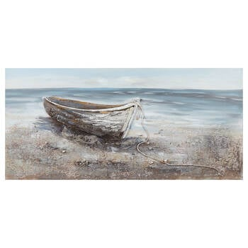 Boat on Beach Mixed Media & Oil Painted Canvas