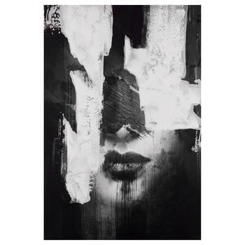 Semi-abstract Woman Printed Canvas with Gel Embellishments