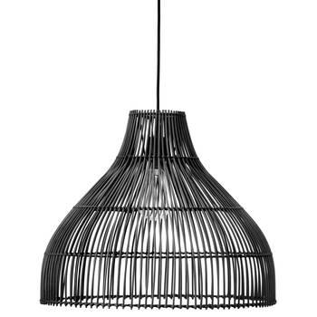 Lampe suspendue en rotin noir