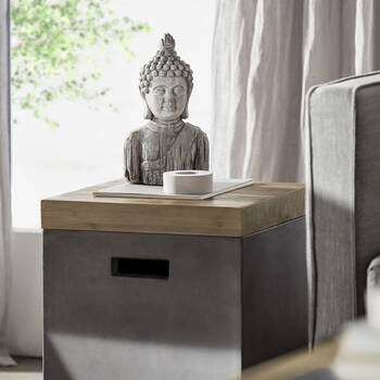 """Cement Buddha Bust 14.5"""""""