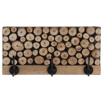 Set of 3 Hooks on Wood Logs Plaque