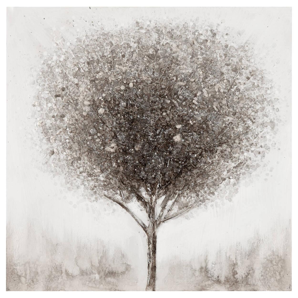 Tableau arbre solitaire peint à l'huile