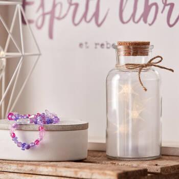 LED Glass Jar With Cork Lid
