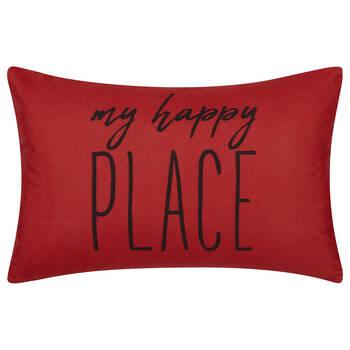 "Happy Place Water-Repellent Decorative Lumbar Pillow 13"" X 20"""