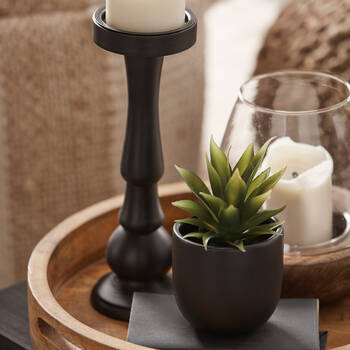 Black Pillar Candle Holder