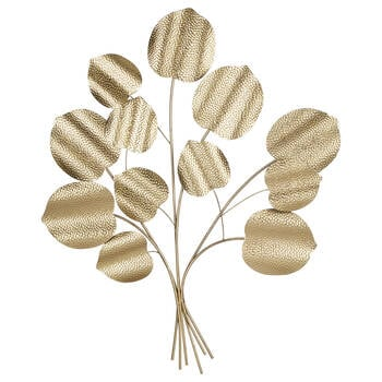 Gold Metal Leaves Wall Art