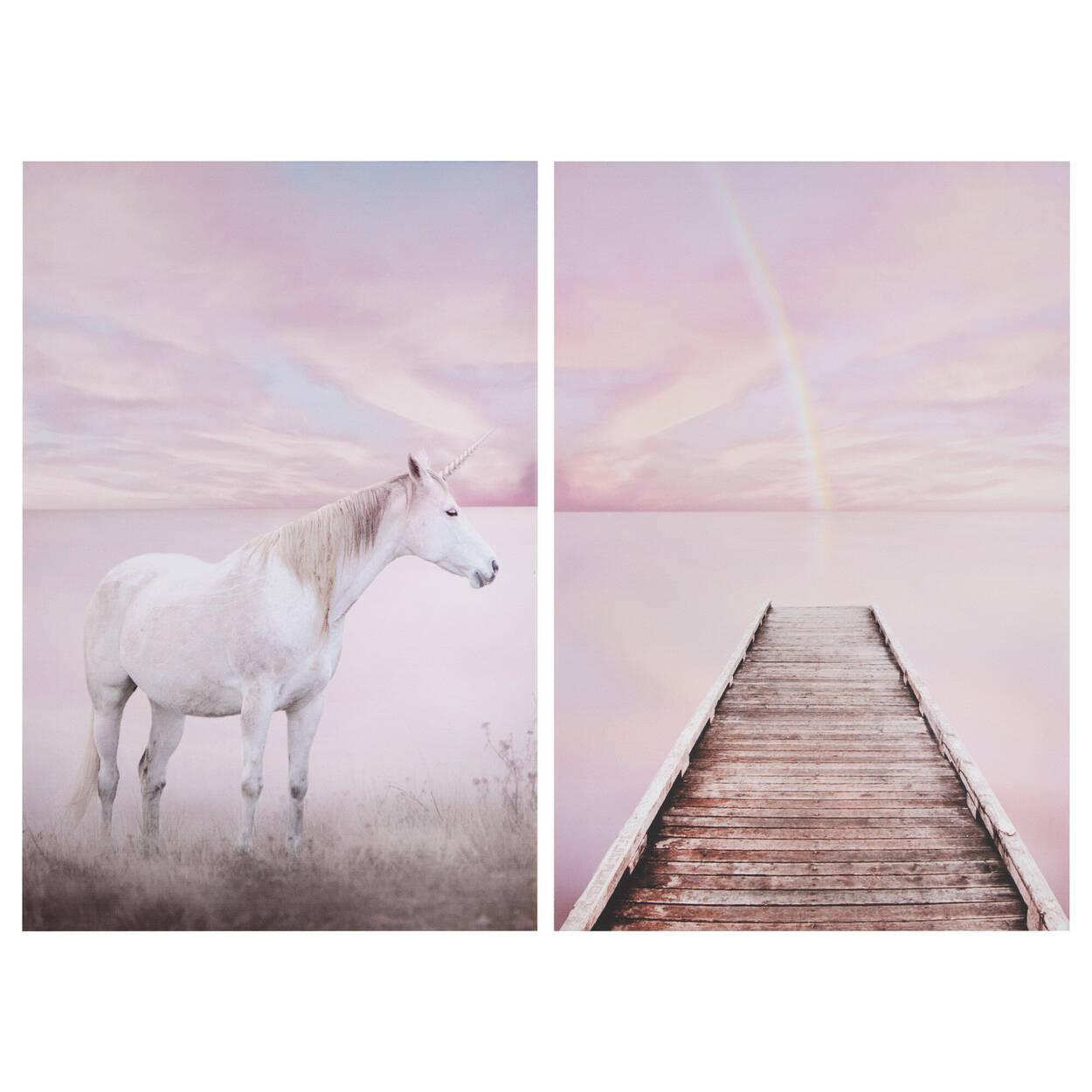 Ensemble de 2 tableaux licorne et quai