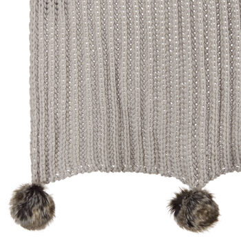 "Jaylon Knit Throw with Pom-poms 50"" X 60"""
