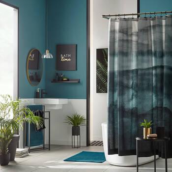 Rideau de douche en aquarelle turquoise