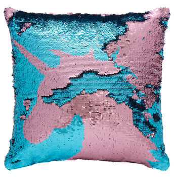 "Unicorn Sequined Decorative Pillow 18"" X 18"""