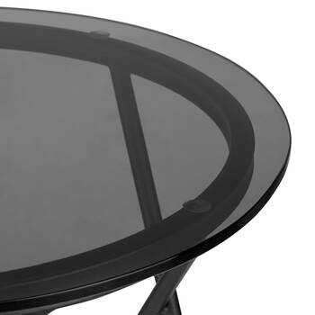 Hairpin-Legged Glass and Metal Side Table