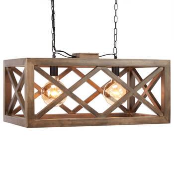 Lampe rectangulaire suspendue en bois
