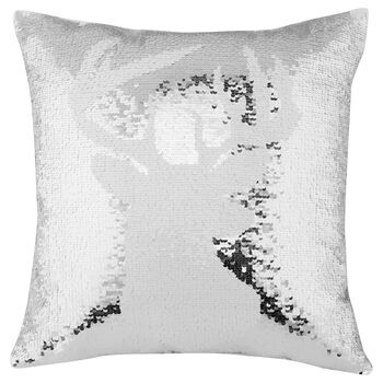 "Deer Sequined Decorative Pillow 17"" X 17"""