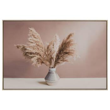 Tableau encadré herbes de la pampa dans un vase