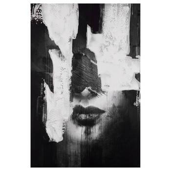 Tableau imprimé semi-abstrait d'une femme avec embellissements au gel