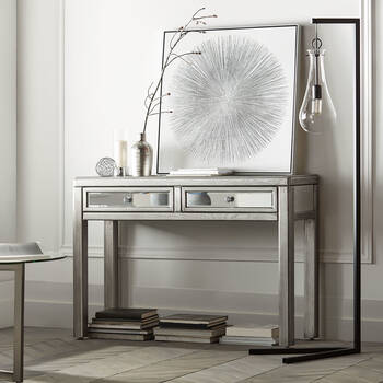 Mirror and Wood Console