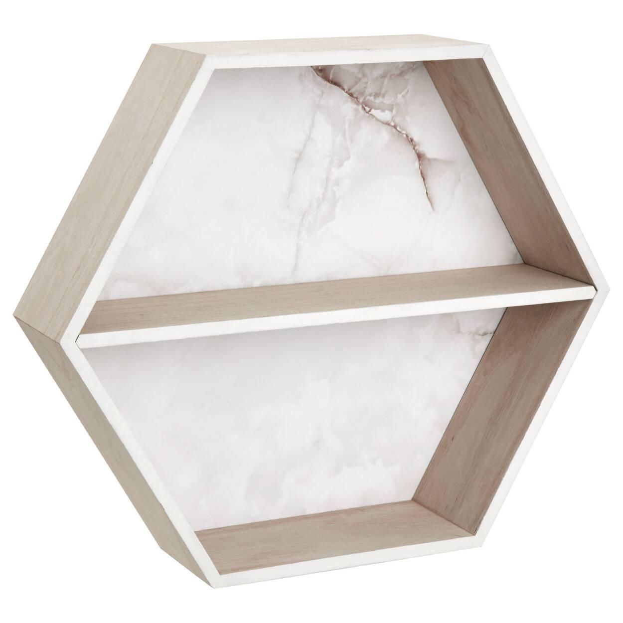 Étagère murale hexagonale à effet marbre