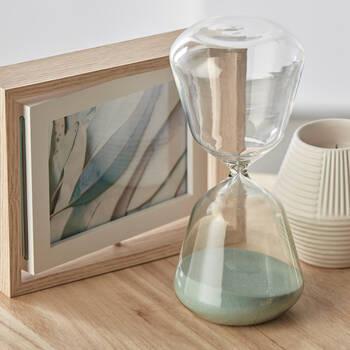 Decorative Hourglass with Aqua Sand 18 x 20 cm.