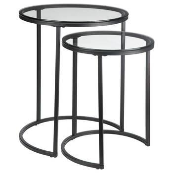 Ensemble de 2 tables d'appoint en verres avec pieds en fer