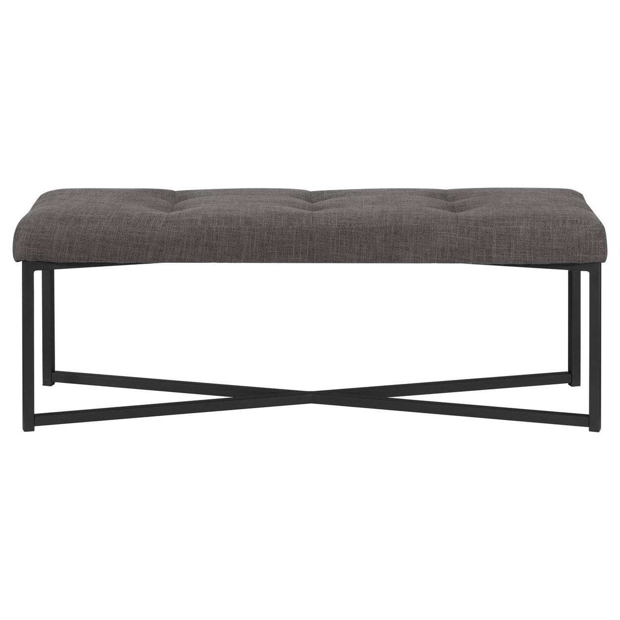 Tufted Chita Fabric and Metal Bench