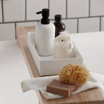 Rectangular White Ceramic Tray with Rubber Finish