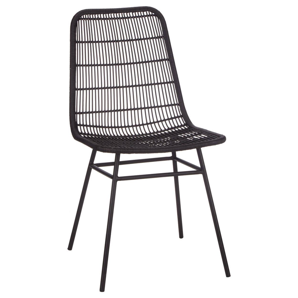Chaise de salle à manger en rotin et métal
