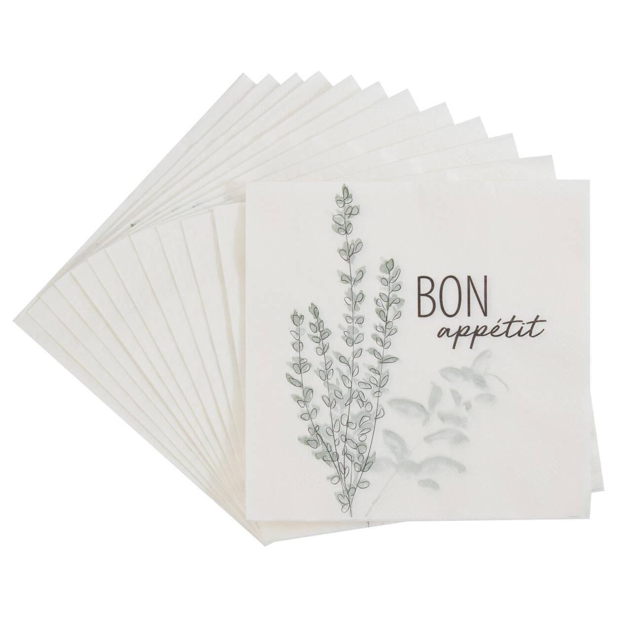 Pack of 20 Bon Appétit Paper Napkins
