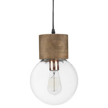 Round Glass and Wood Ceiling Lamp