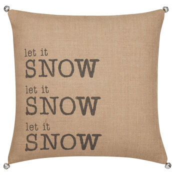 "Let It Snow Typography Decorative Pillow 18"" X 18"""