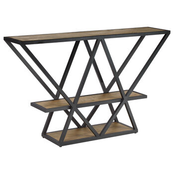 Pine Wood Veneer Shelving Unit with Metal Base
