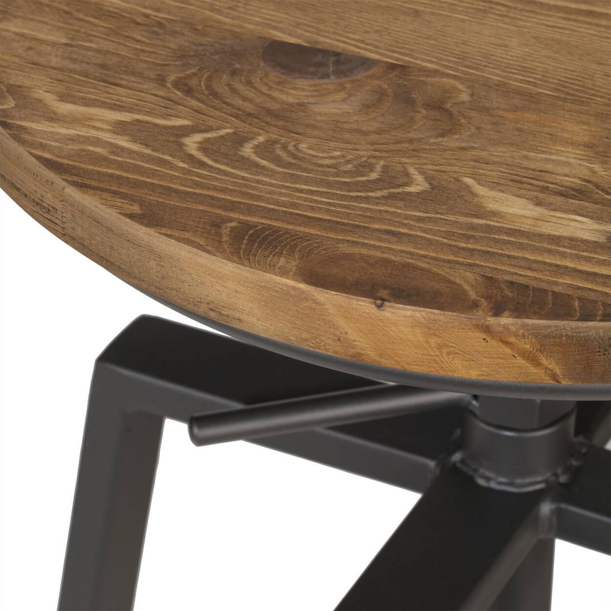 Tabouret de bar ajustable en bois d'orme et en métal