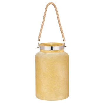 Large Frosted Glass Lantern Candle Holder