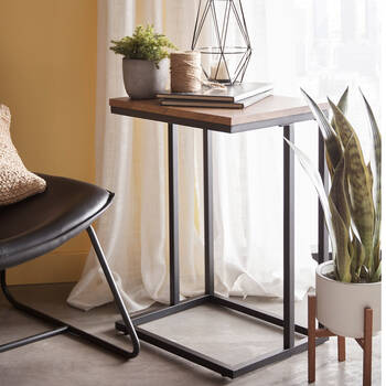 Chevron and Metal Side Table